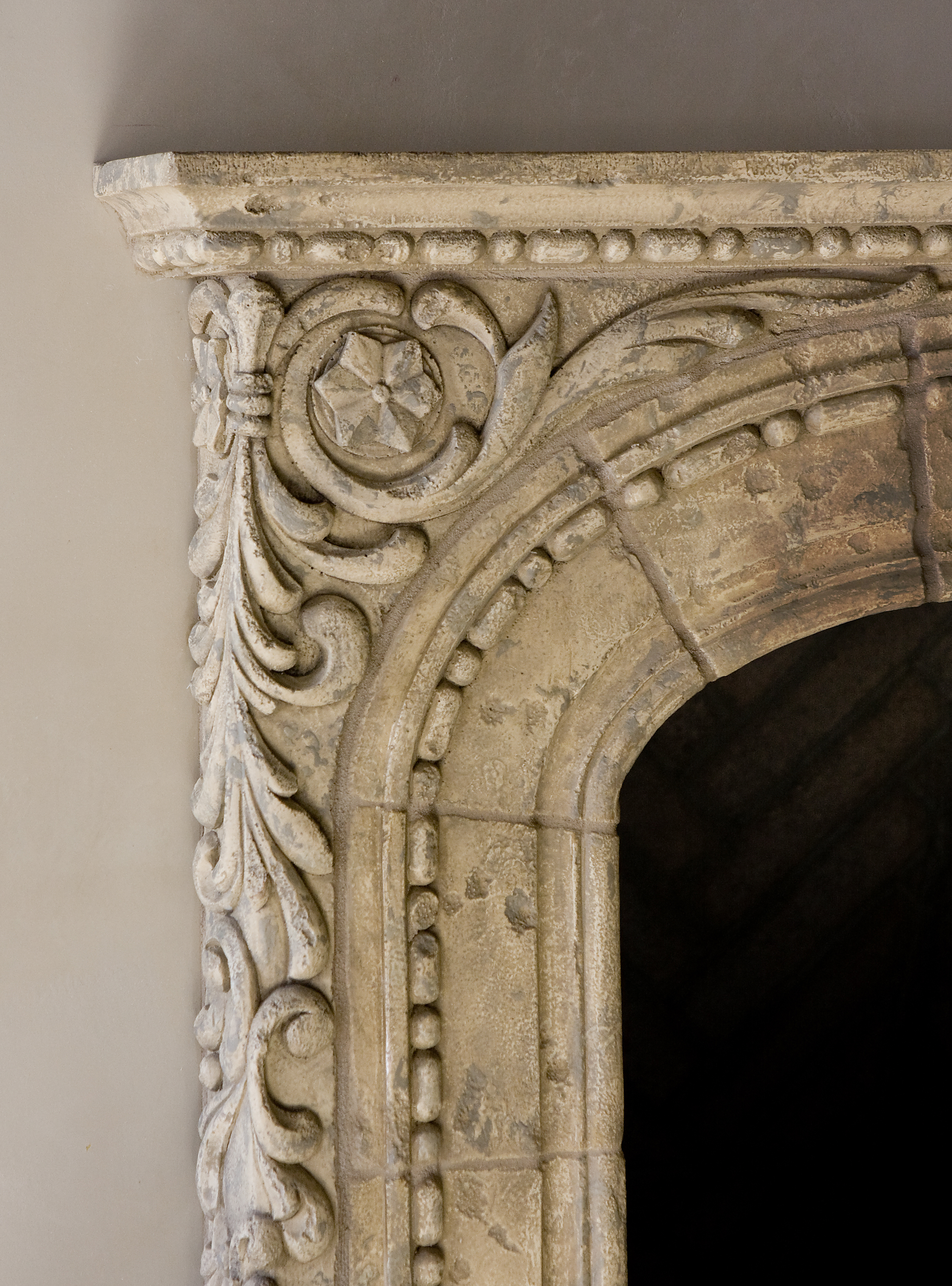 Antiqued Paint on Concrete Fireplace