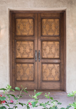 Walnut with Carved Panel Entry Door