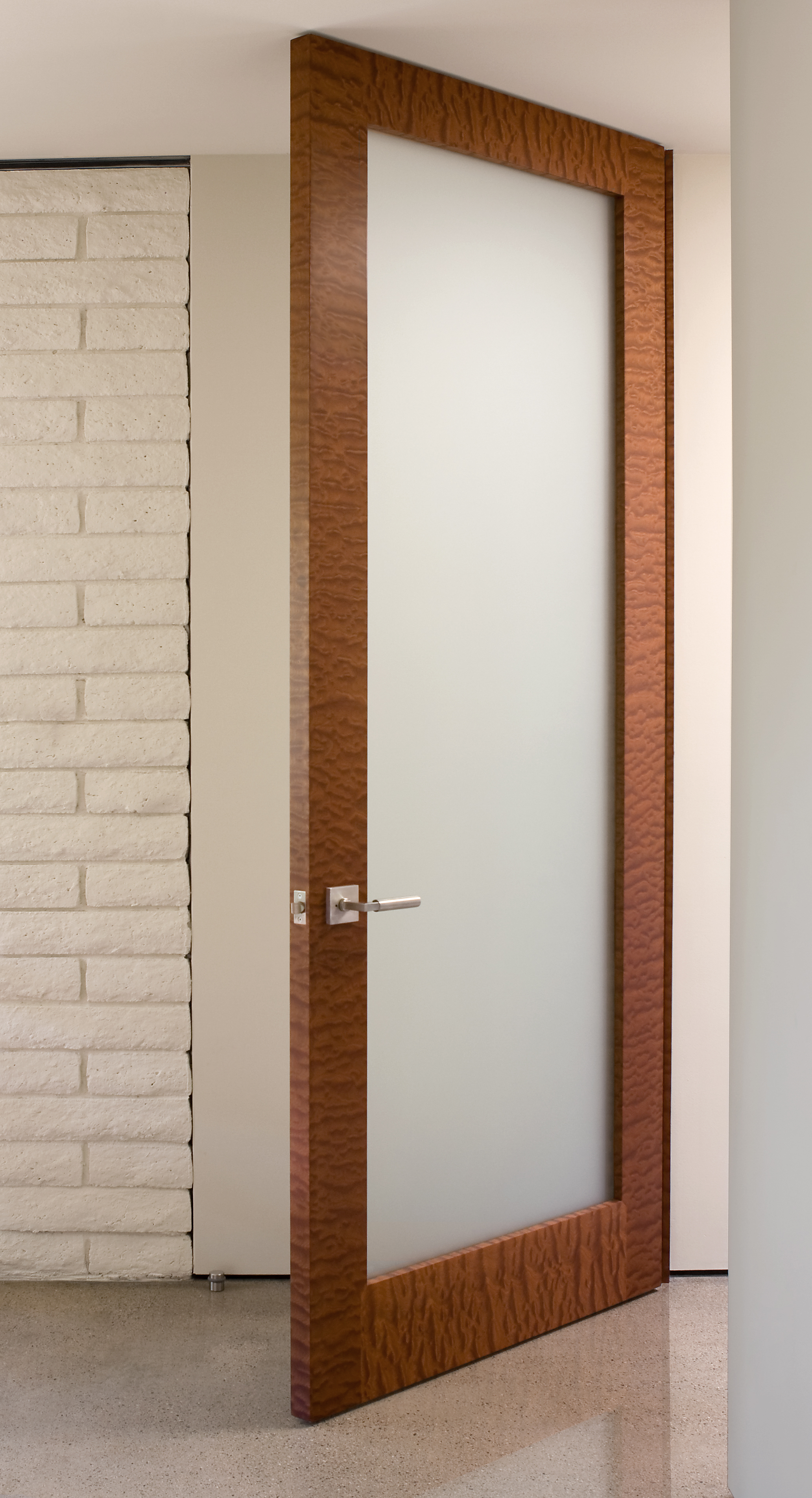 Makore Door with Glass Insert