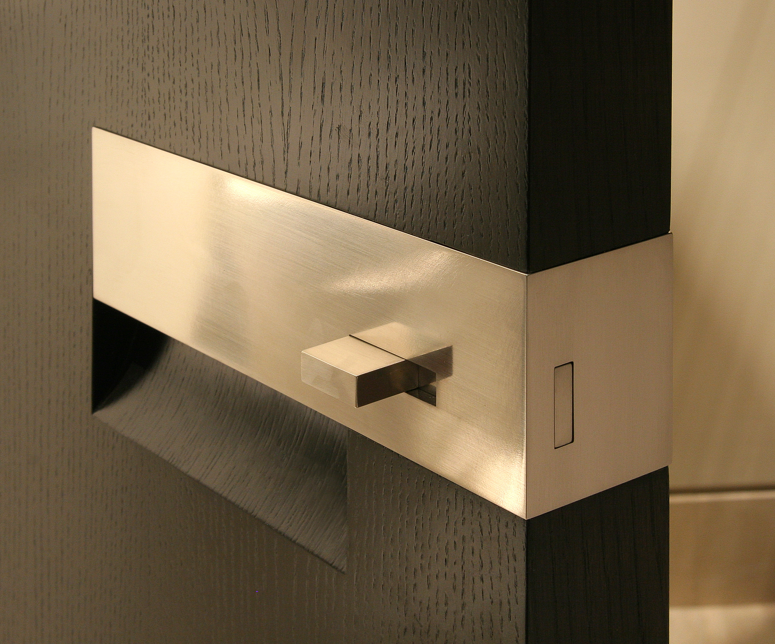 Satin Nickel Pull with Latch