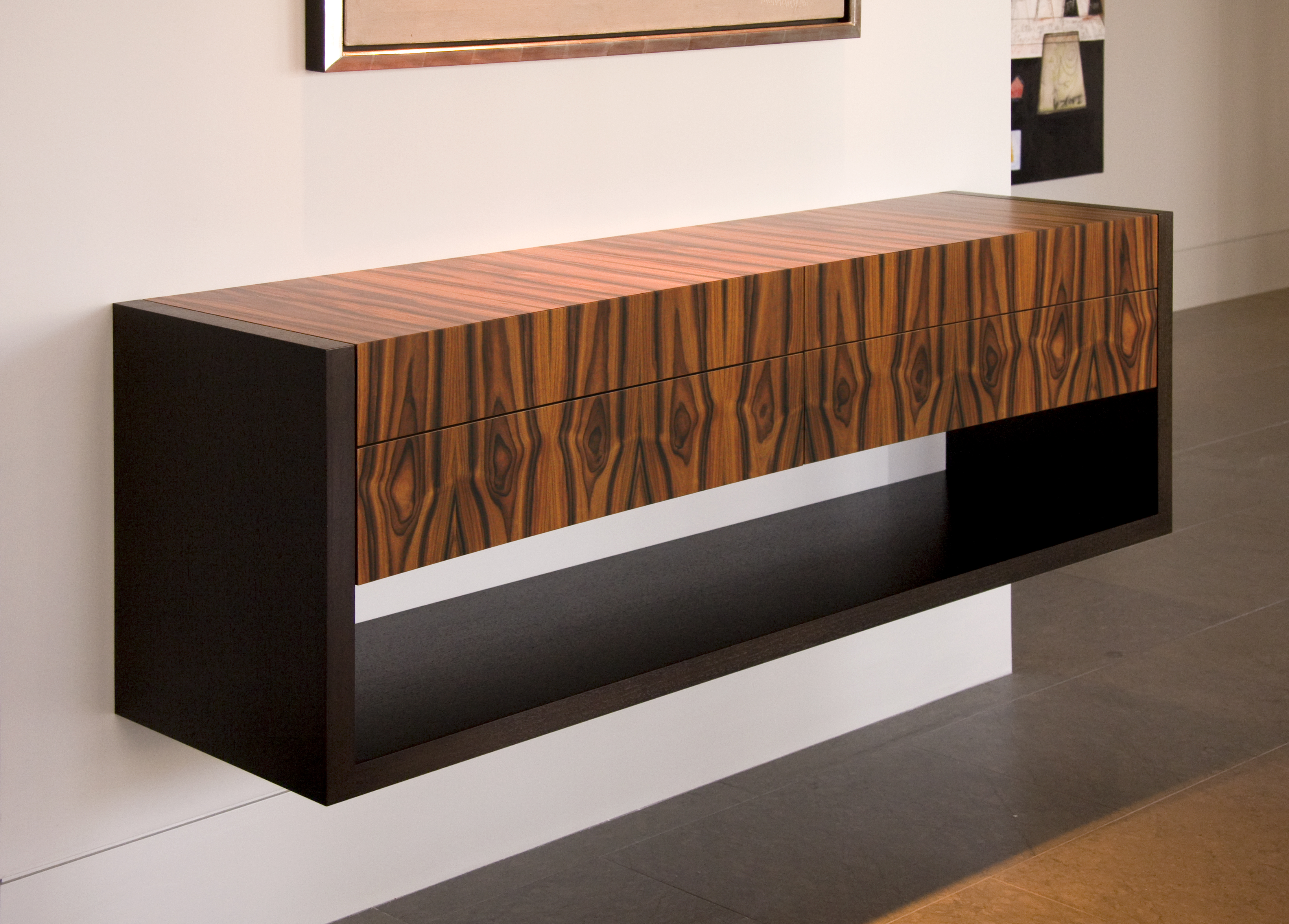 Floating curved console cabinet