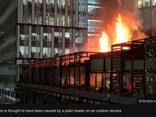 Patio Heaters - Fire at the Ivy Restaurant in Manchester, UK