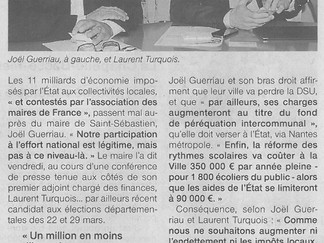 Perte de 3 millions d'euros de dotations de l'État