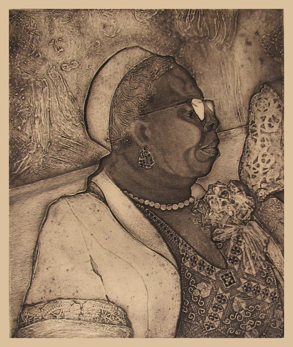 Grandmother of the Bride, Collagraph, 17