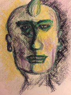 Visage au crayon de couleurs