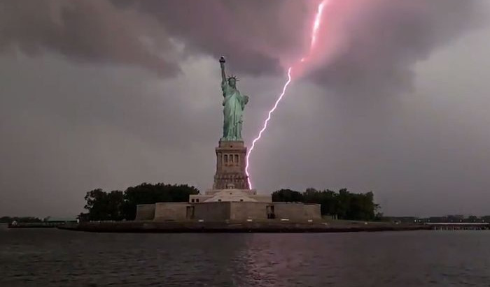 Statue of Liberty Struck by Massive Bolts of Lightning