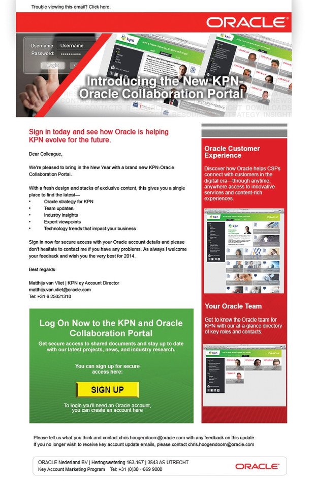 Oracle emailer