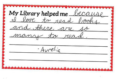 """Recipe card """"My library helped me...because I love to read books and there are so many to read. -Aurelia"""""""