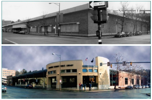 The Ithaca Woolworths before and after being renovated into TCPL