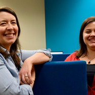 Two women smiling. Librarians