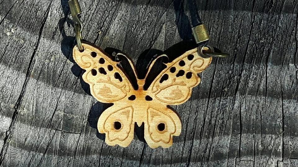 Butterfly pendant, laser cut from birch wood