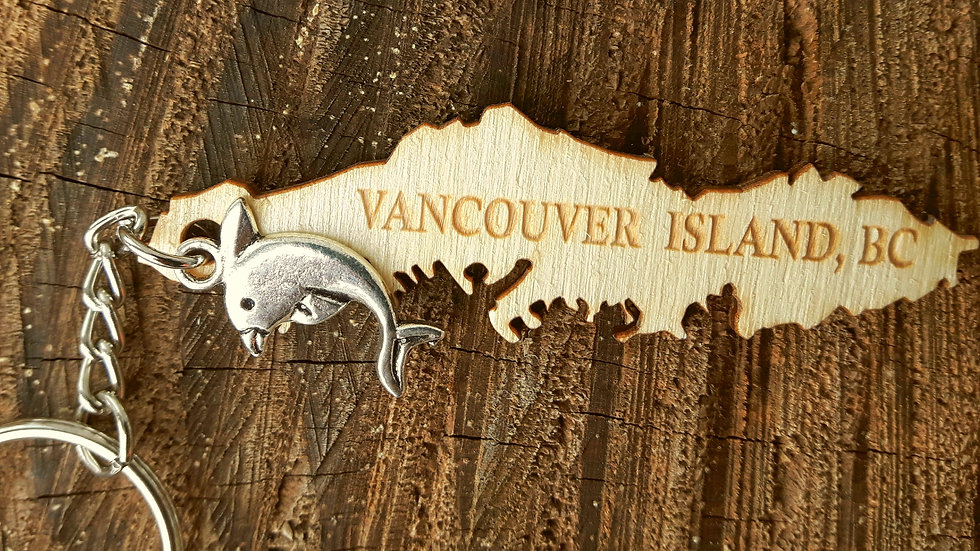Island Keychain: 'Vancouver Island, BC' engraved