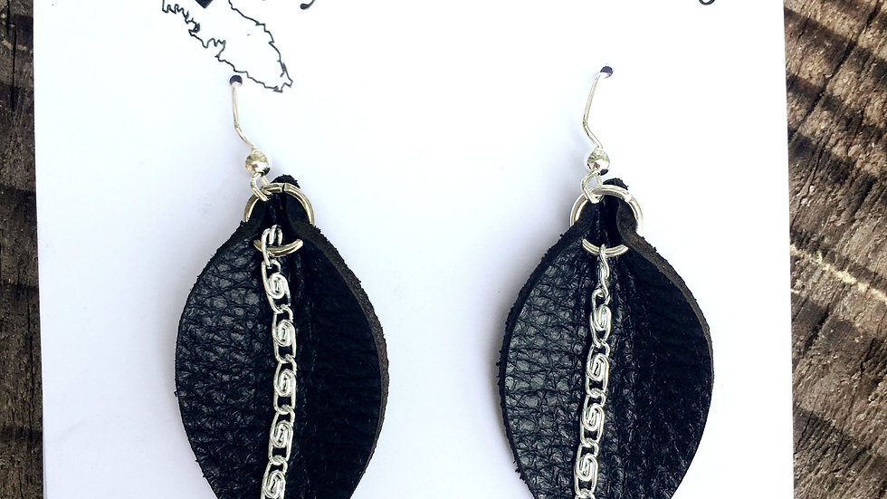 Re-purposed Leather Lily Leaf Earrings