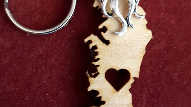 Vancouver Island with Heart Keychain