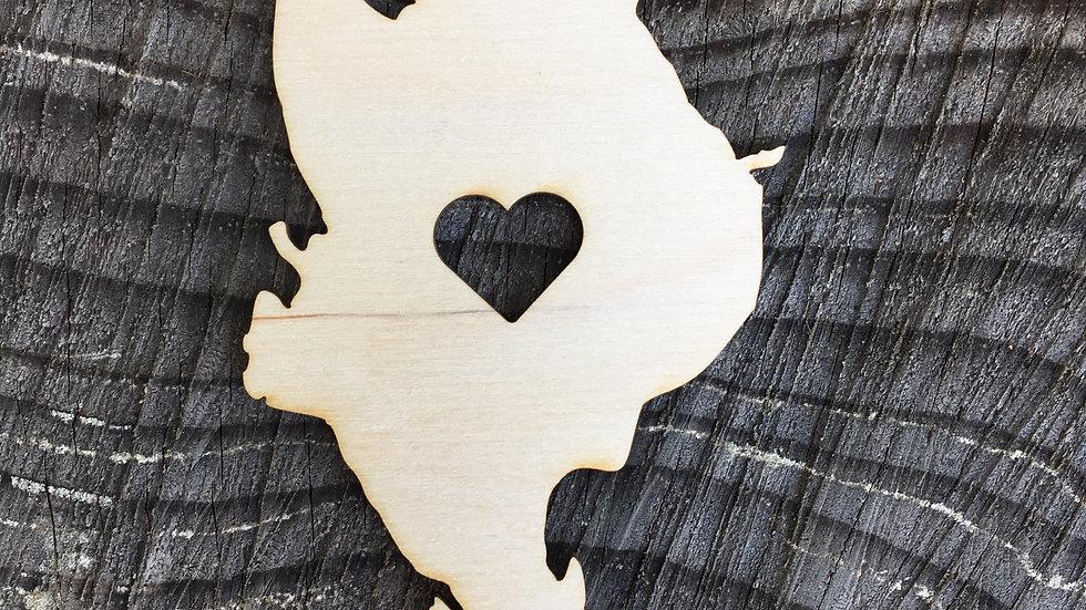 Quadra Island with Heart Magnet