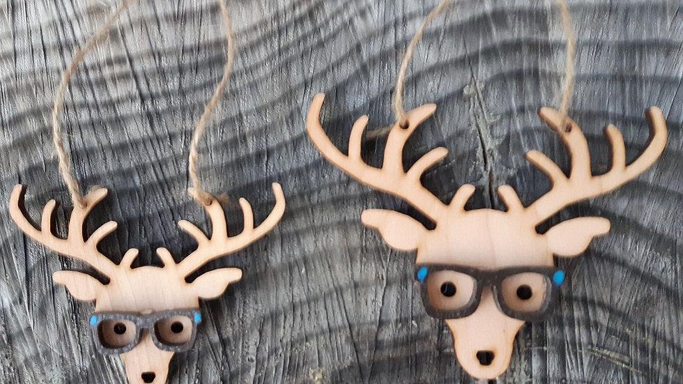 Hipster Reindeer Christmas Ornament