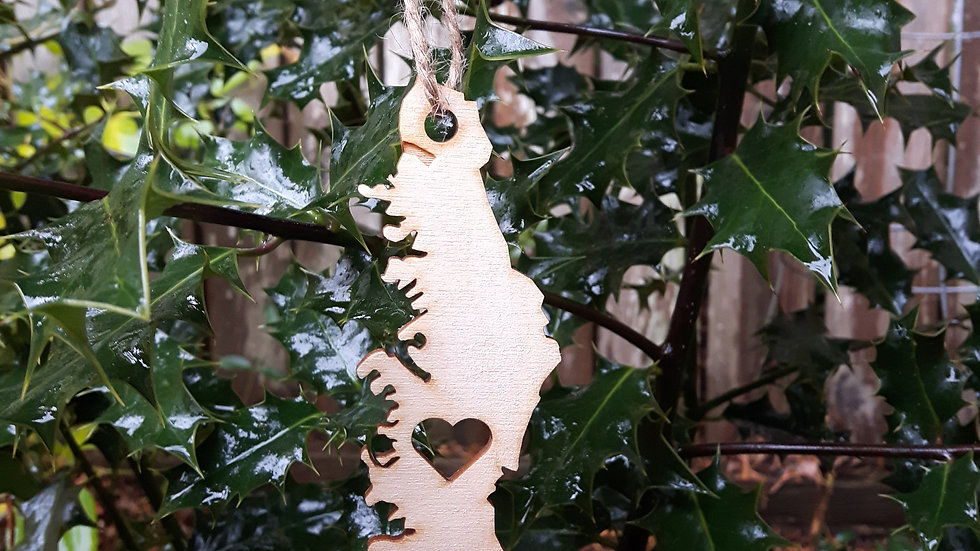 Christmas Ornament- Vancouver Island with Heart