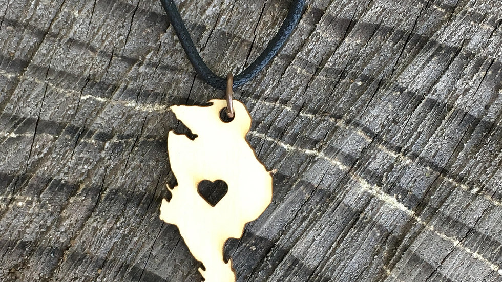 Quadra Island with Heart Pendant