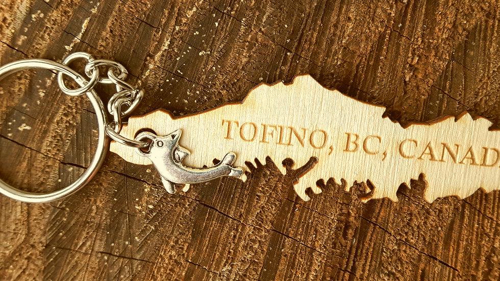 Island Keychain: 'Tofino, BC, Canada' engraved