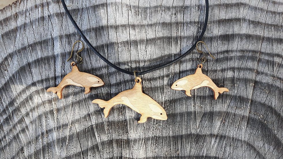 Orca Whale Necklace & Earring Set