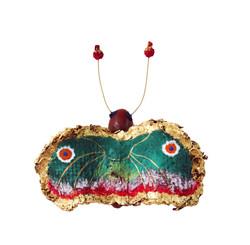 夏愛華《妖精湖的蕪-蝶2》11x18x5cm,漆、麻、金箔、岩彩,2017