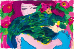 丁雄泉 《女郎與綠色的貓》