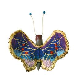 夏愛華《妖精湖的蕪-蝶3》12x17x5cm,漆、麻、金箔、岩彩,2017