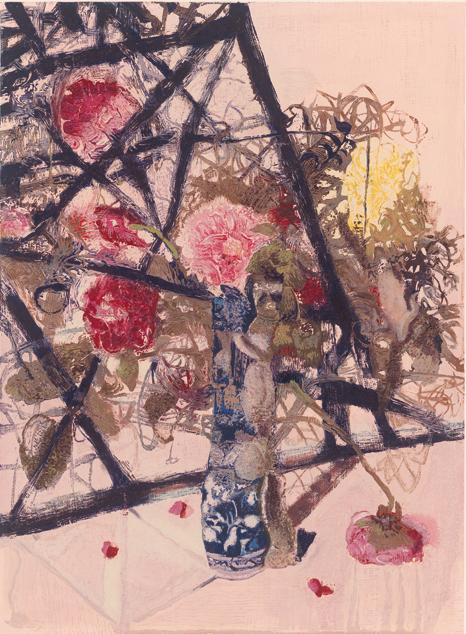 周春芽《青花瓶花》
