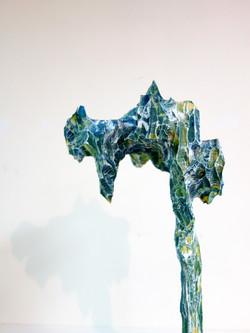 水谷篤司《為了似曾相識風景的素描1|Sketching for the Familiar Scenery1》20x20x47cm,松木、日本畫顔料、壓克力|Pine Wood,Eastern Goua