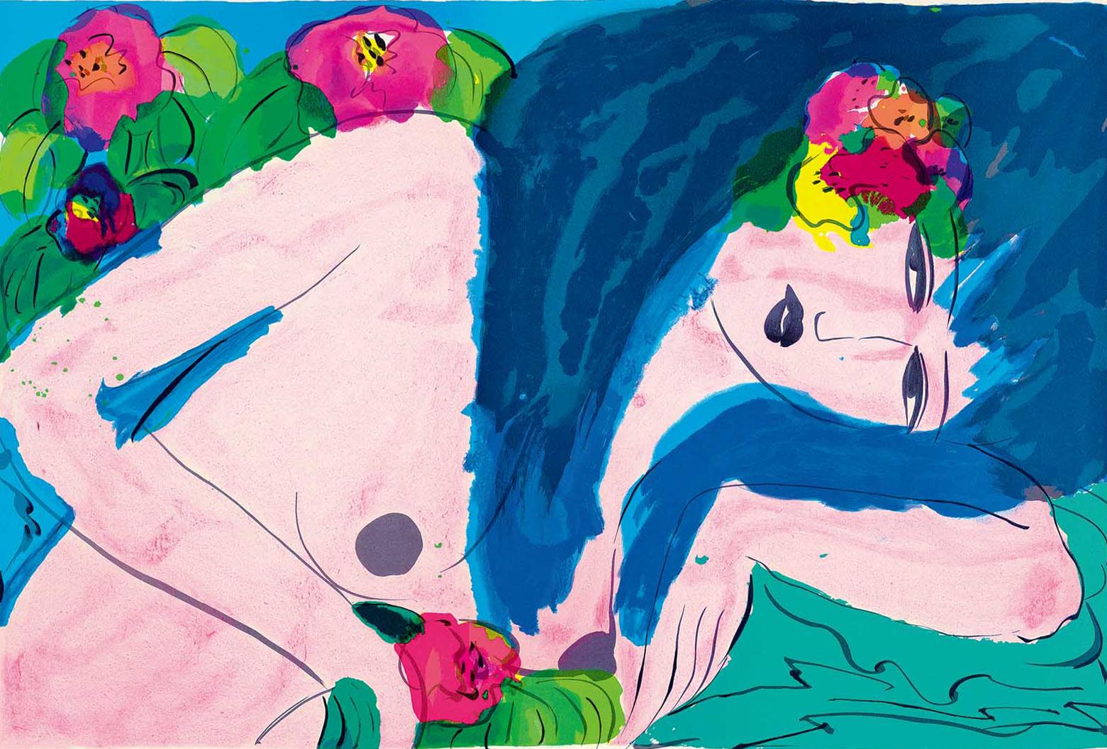 丁雄泉《藍髮女子》
