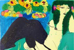 丁雄泉《裸女與花》
