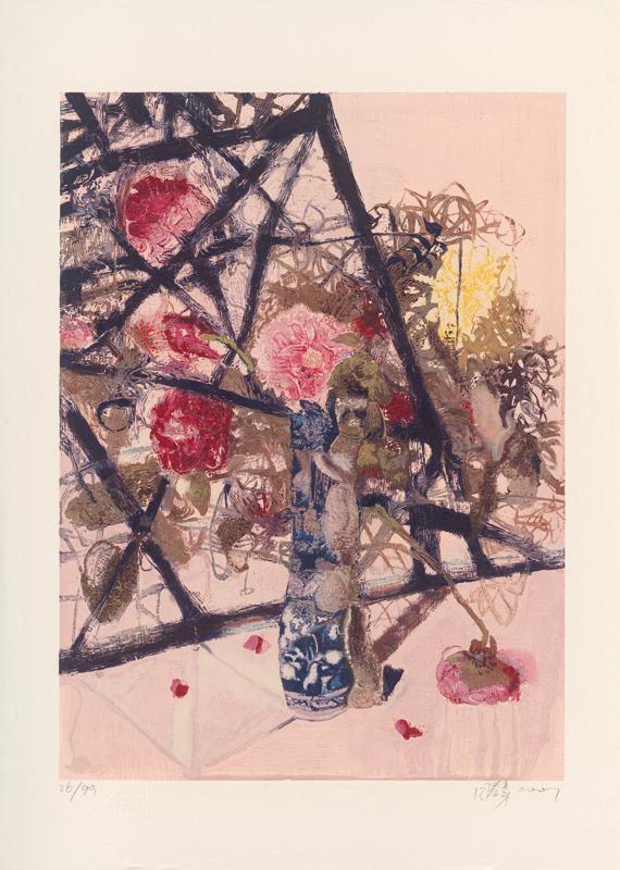 《青花瓶花》