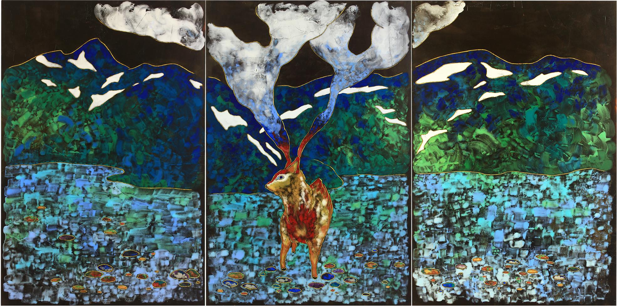 夏愛華《妖精湖》120x240x5cm,生漆、金箔、岩彩、松木拼板,2017
