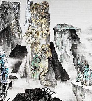 具本妸《Machine landscape》130x320cm,水墨設色、金銀粉
