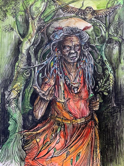 """The Hierophant"" 9 x 12"" Original Bonestone & Earthflesh Painting"