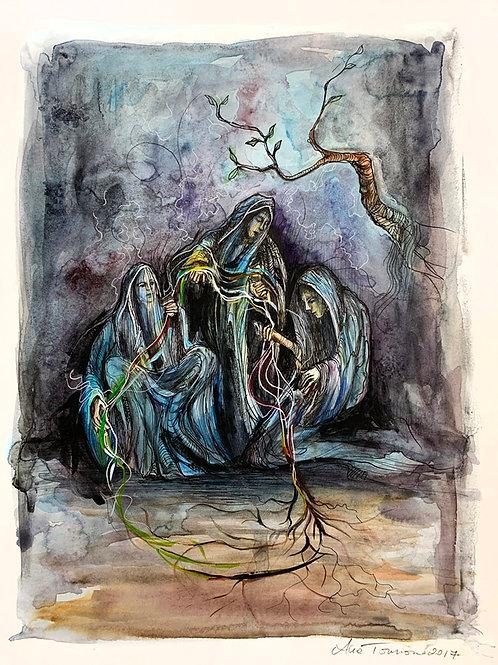 """""""Wheel of Fortune"""" 12 x 16 Original Bonestone & Earthflesh Painting"""