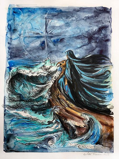 """Six of Swords"" 12 x 16 Original Bonestone & Earthflesh Painting"