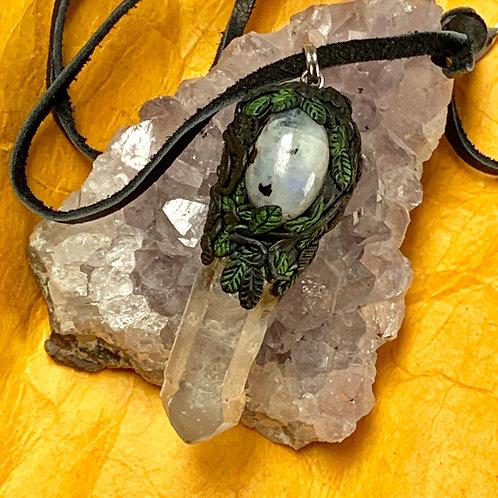 little Green Goddess Moonstone & Quartz Pendant