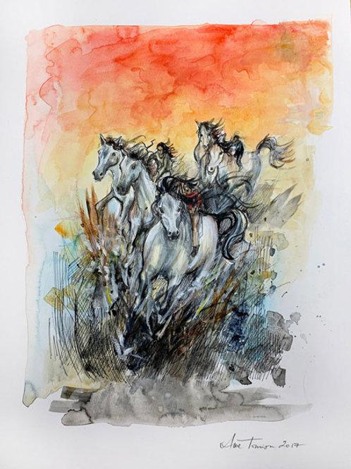 Eight of Wands- 12 x 16 Original Bonestone & Earthflesh Painting