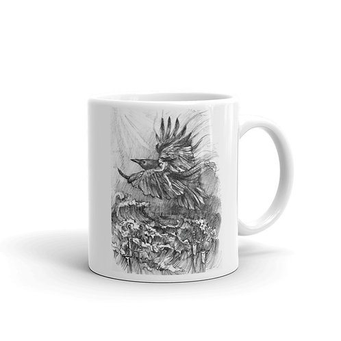 Three & Six of Swords White glossy mug