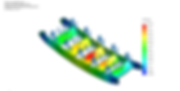 Image shows an FEA (Finite Element Analysis) study performed on a ladder type component of a Marine gangway structure