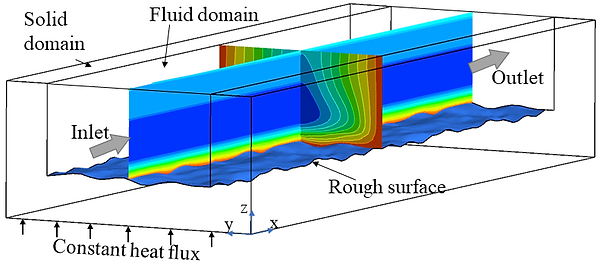 Simulation results of heat transfer in a mini-channel