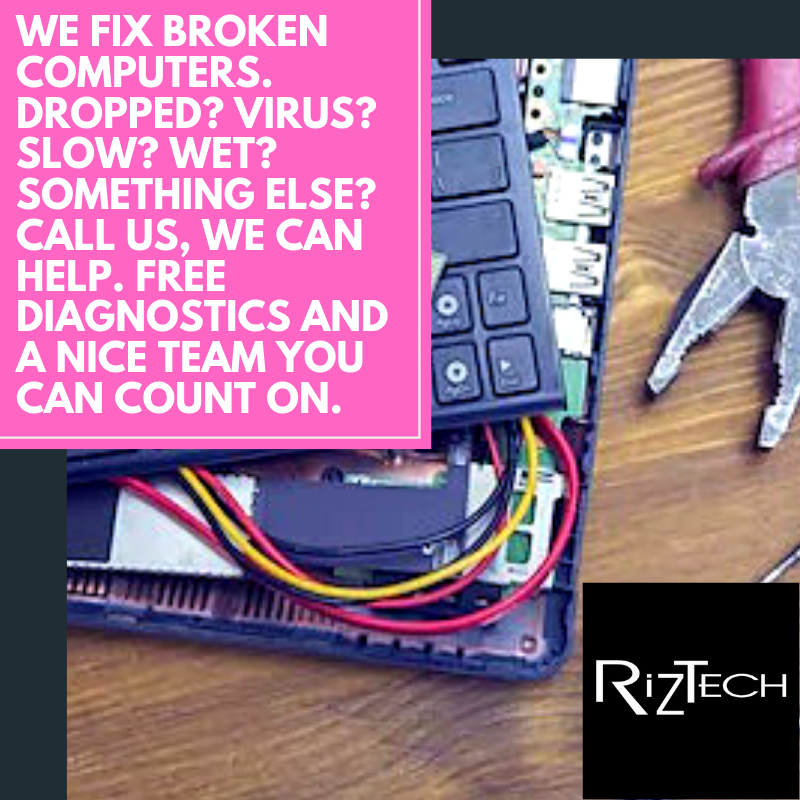 Visit RizTech for all your Mac and PC computer repair needs.