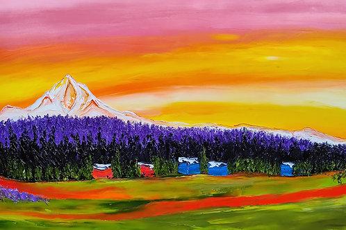 Mount Hood At Orange Yellow Dusk