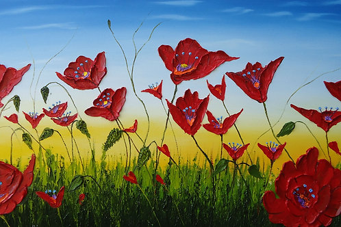 Field Of  Blue Sky Red Poppies #10