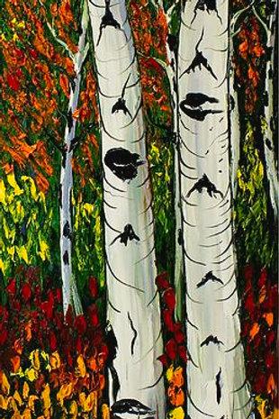 Purple sky Birch Trees Of Autumn #4
