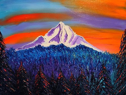 Orange Purple Dusk Of Mount Hood