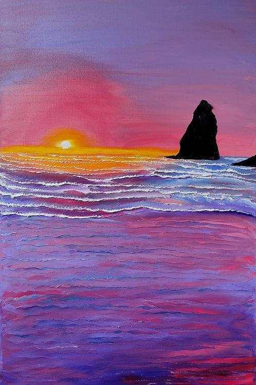 Pink Purple Dusk Of Cannon Beach