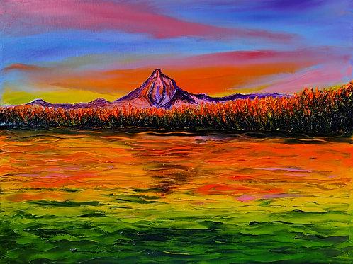 Orange Dusk Of Mount Hood#3
