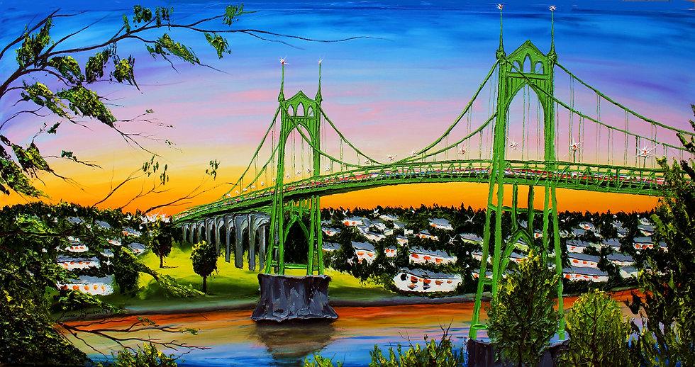 Green St. Johns Bridge At Dusk #6.JPG